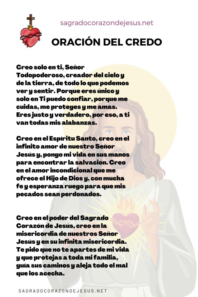 oración del credo al sagrado corazón de Jesús