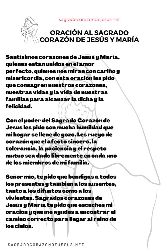 oración al sagrado corazón de Jesús y María